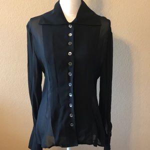 ABS sheer vintage black chiffon button down blouse